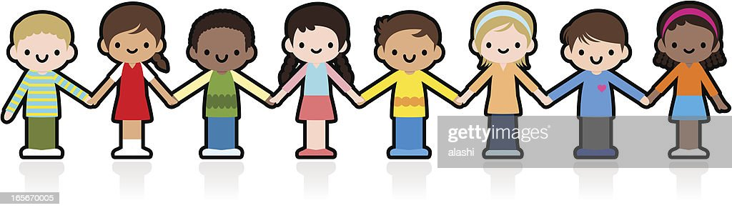 Happy Smiling Multicultural Kids Holding Hands : stock vector