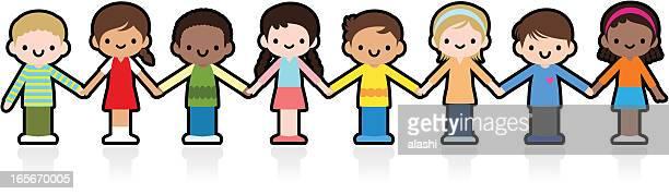 Happy Smiling Multicultural Kids Holding Hands