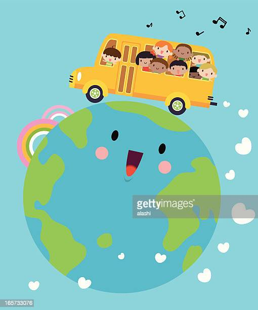 Happy Smiling Multicultural Kids On School Bus