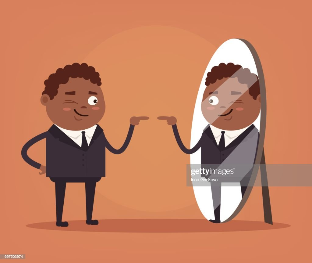 Happy smiling narcissistic black African American businessman office worker character looks at mirror