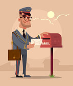 Happy smiling postman mailman character put envelope letter in house mail box mailbag. Delivery service concept flat cartoon design graphic isolated illustration