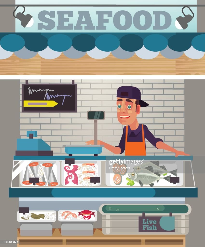 Happy smiling sales man character sell seafood. Food market concept