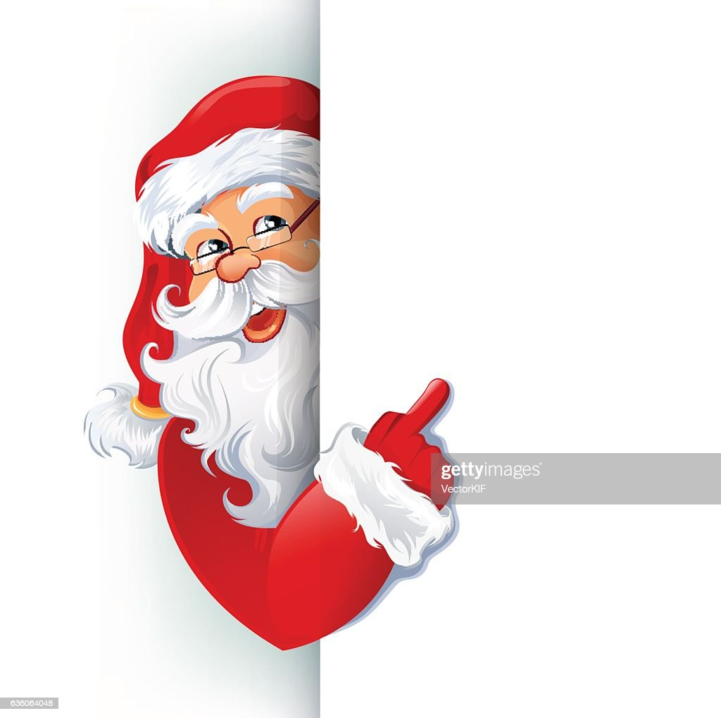 Happy smiling Santa Claus showing on big blank sign