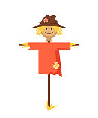 Happy smiling scarecrow character. Vector flat cartoon graphic design banner poster concept