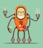 Happy smiling smart mad scientist man robot cyborg character holds flask with liquid in his iron hands