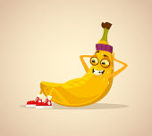 Happy smiling sport banana character work out abs