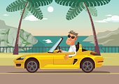 Happy smiling successful businessman character sitting in car cabriolet