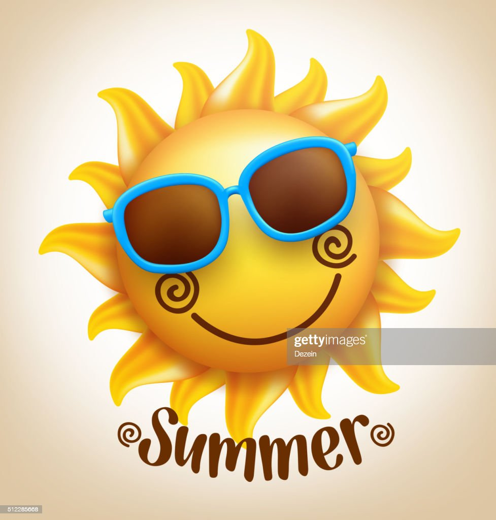 Happy Smiling Sun Vector with Colorful Sunglasses with Summer Title