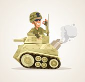 Happy smiling tank man character