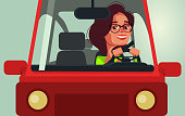 Happy smiling woman character driving car