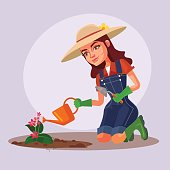 Happy smiling woman character working in garden and watering flowers