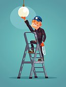 Happy smiling worker character changes light bulb
