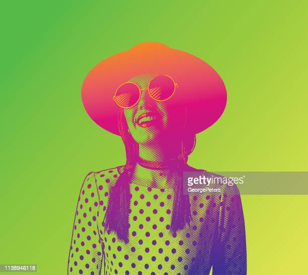 happy, smiling young hipster woman - laughing stock illustrations