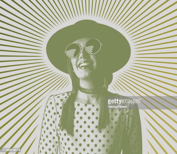 happy, smiling young hipster woman with sunbeams - desaturated stock illustrations, clip art, cartoons, & icons