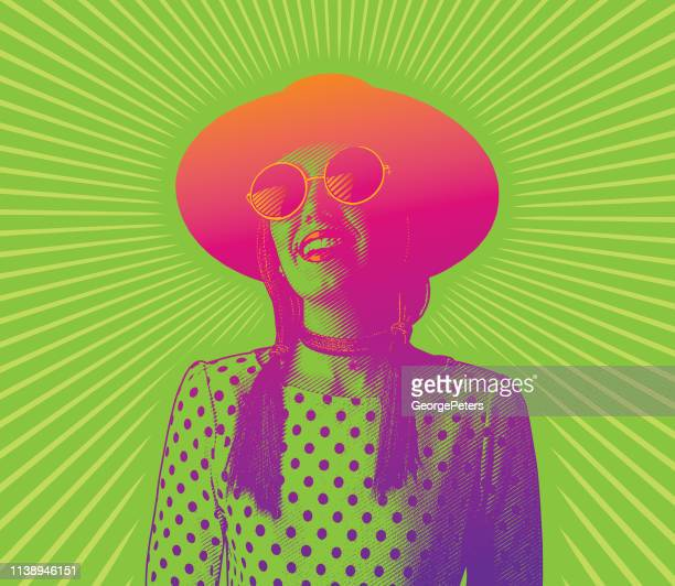 happy, smiling young hipster woman with sunbeams - actor stock illustrations