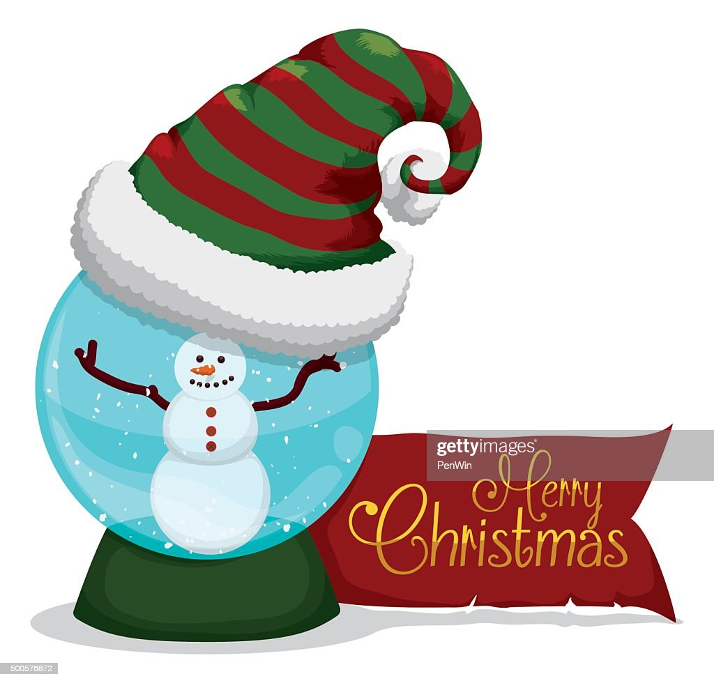 Happy Snow Man Inside Crystal Ball with Merry-Xmas Message.