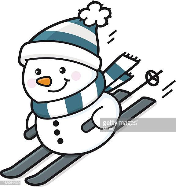 happy snowman goes skiing - tobogganing stock illustrations, clip art, cartoons, & icons