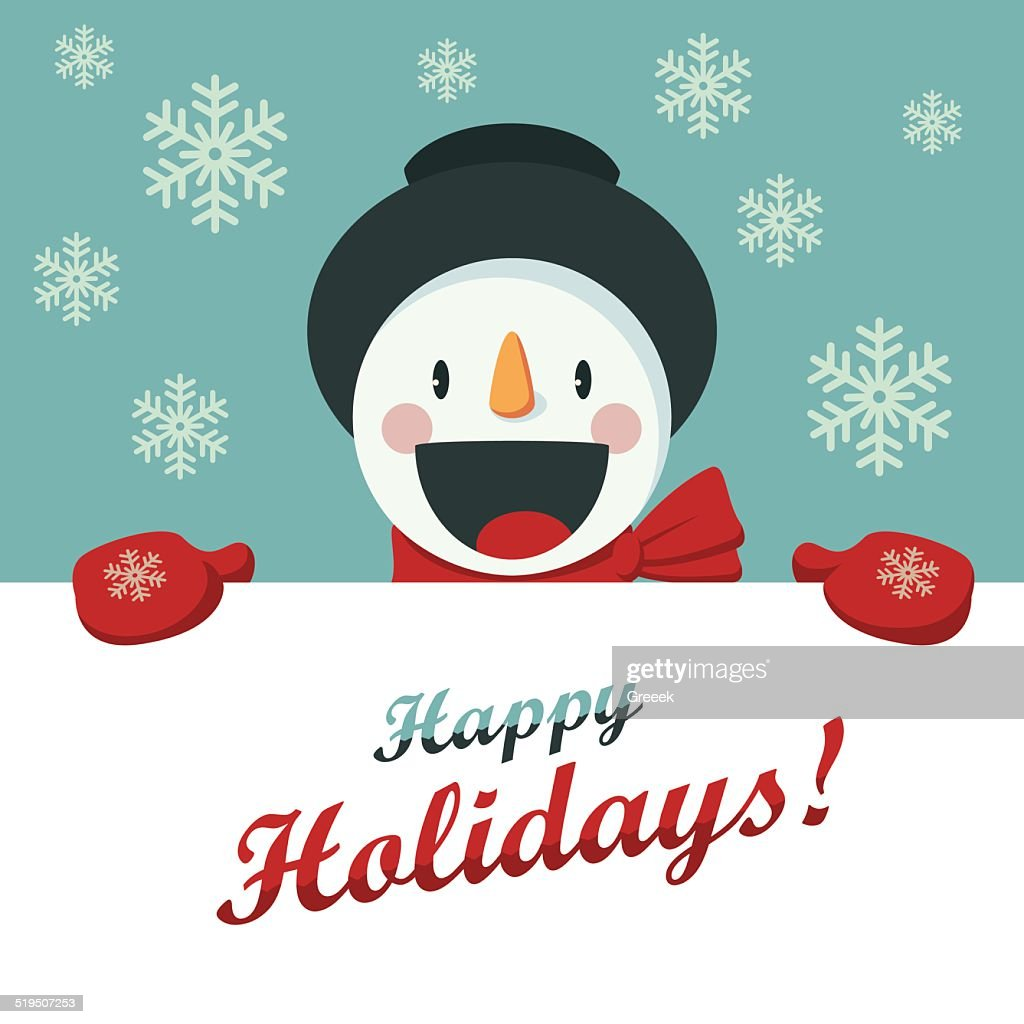 Happy Snowman greets you. Christmas background with snowflakes