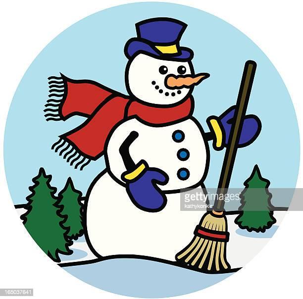 happy snowman icon - winterdienst stock illustrations