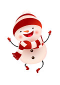 Happy snowman in cap and scarf jumping vector illustration