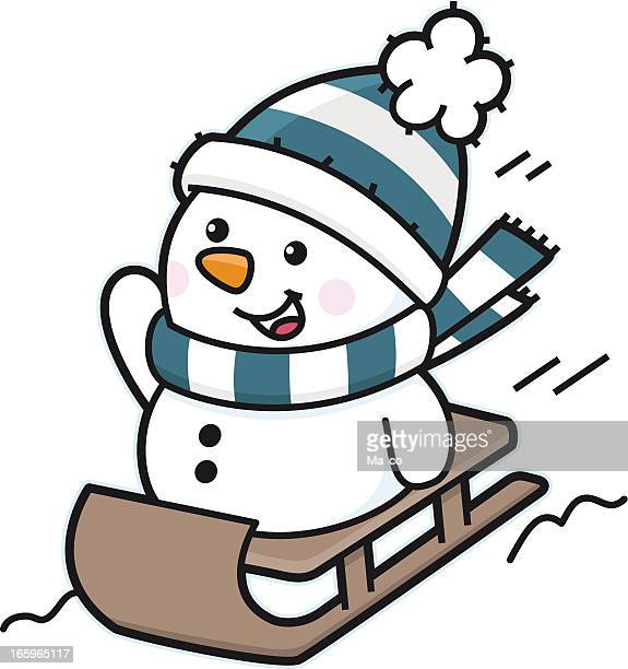 happy snowman riding on sledge in snow - tobogganing stock illustrations, clip art, cartoons, & icons