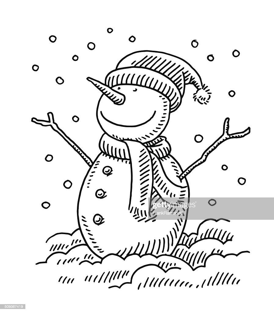 Happy Snowman Winter Drawing High Res Vector Graphic Getty Images