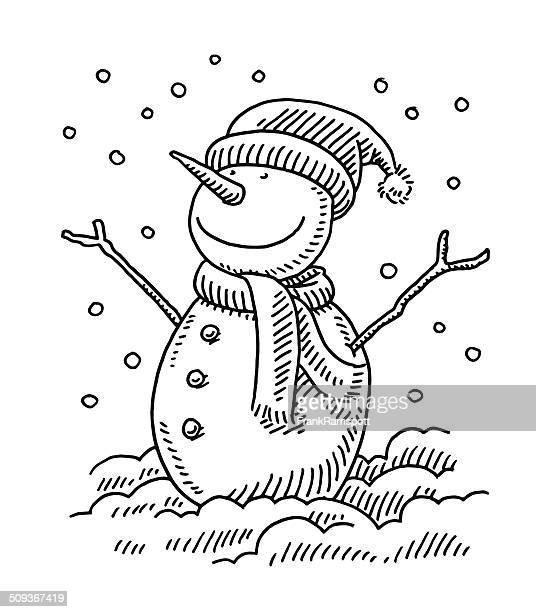 Happy Snowman Winter Drawing
