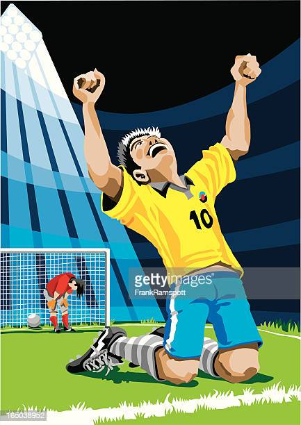 happy soccer player after scoring goal - sports team stock illustrations, clip art, cartoons, & icons