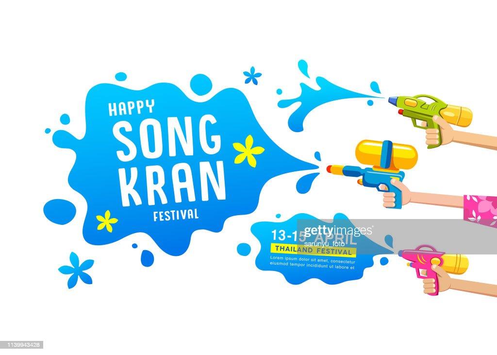 Happy Songkran festival thailand gun water in hands collections vector design