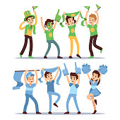 Happy sports fun teams. Group shouting supporting people vector set