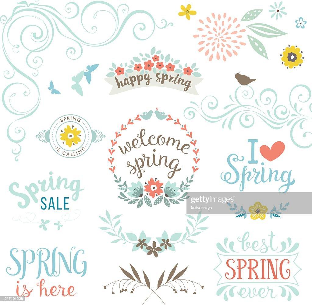 Happy Spring Elements Set