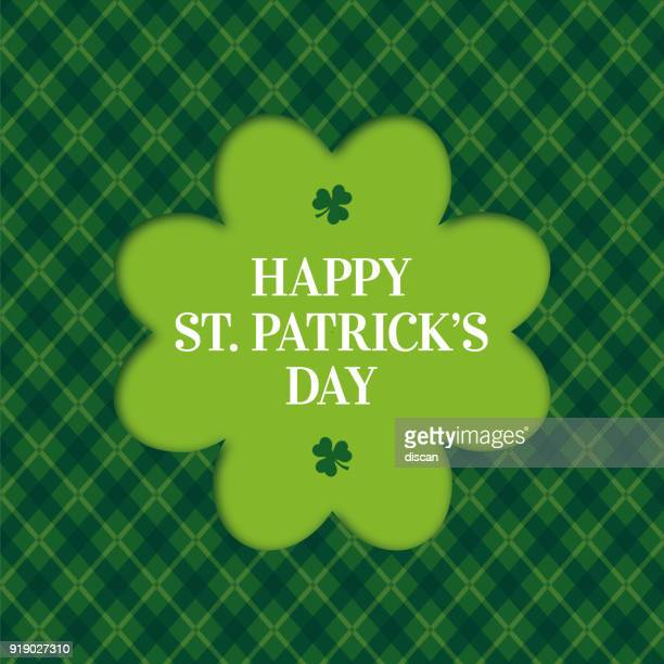 happy st. patrick's day card with clover frame - st patrick's day stock illustrations