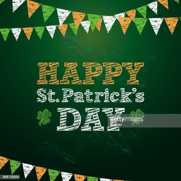 happy st. patrick's day chalkboard - st. patrick's day stock illustrations, clip art, cartoons, & icons
