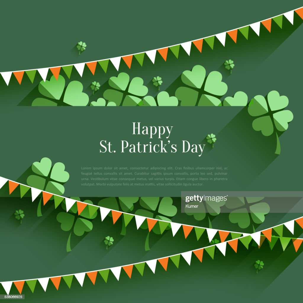 Happy St. Patrick`s Day - greeting card in flat style