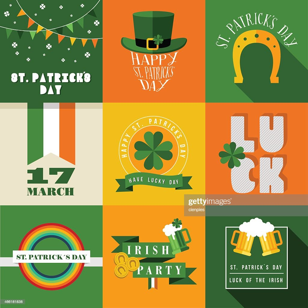 Happy St Patricks day label illustration