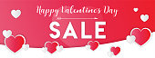 Happy St. Valentine Day banner or background. Sale information. Composition with white and red hearts. Vector illustration.