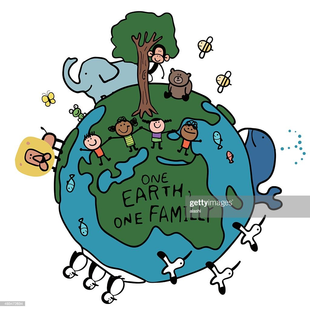 Happy stick figure children holding hands and animals on Earth
