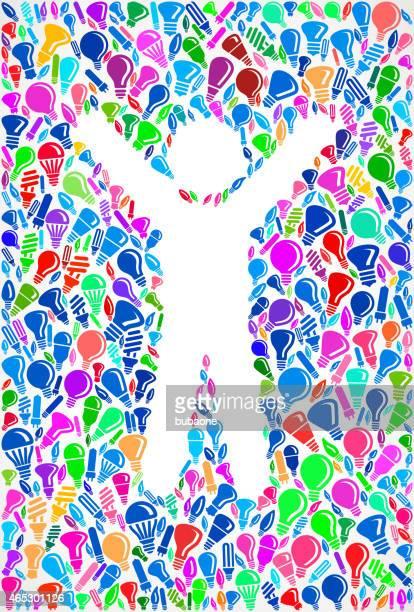 Happy Stick Figure on royalty free vector Lightbulb Pattern Background