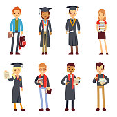 Happy students and graduates young learning people vector characters