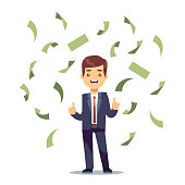 Happy successful businessman in money rain. Finance and banking vector concept