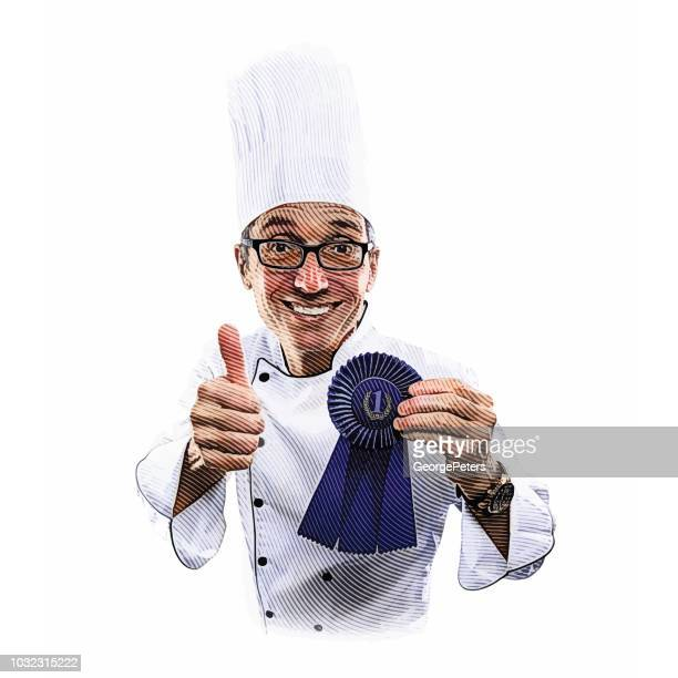 Happy, successful chef giving thumbs up hand gesture