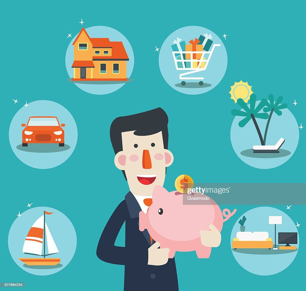 Happy, successful, smiling businessman with a piggy bank