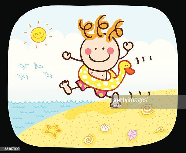 happy summer boy going to swim at sea cartoon illustration