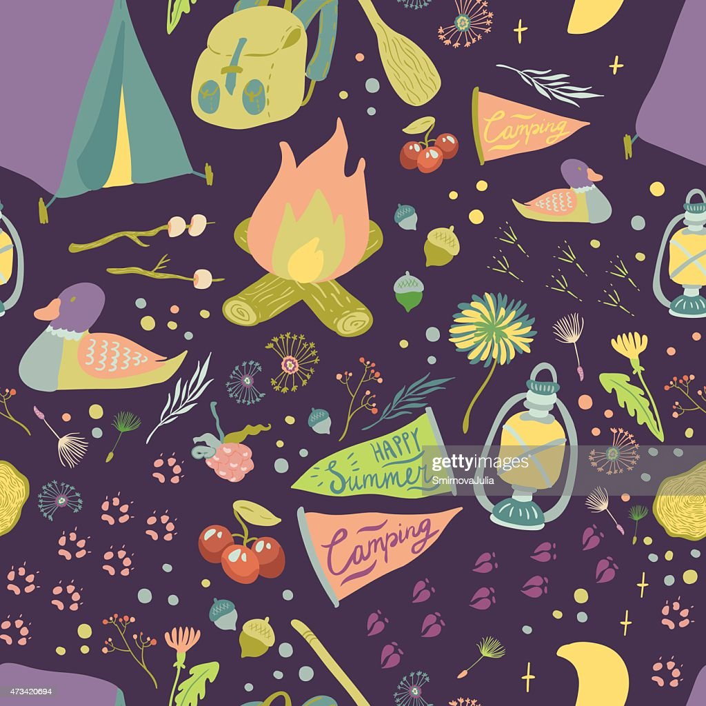 Happy Summer Camp Cute Seamless Vector Pattern