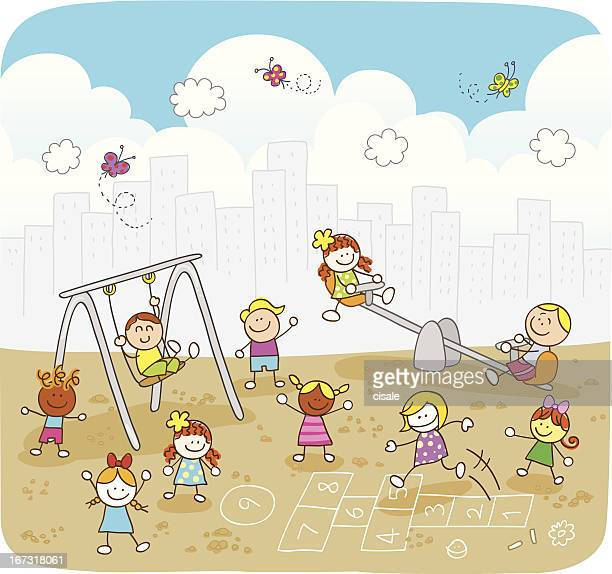 happy summer children playing at park cartoon illustration