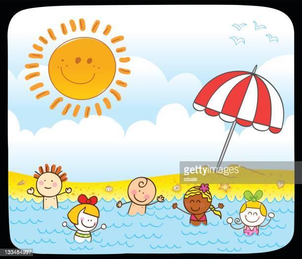happy summer children swimming at sea cartoon illustration