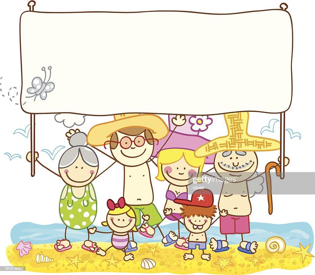 happy summer family with banner cartoon illustration : Vector Art