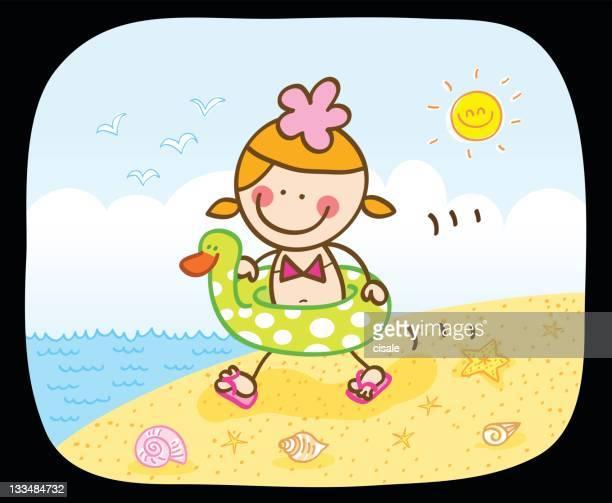 happy summer girl going to sea cartoon illustration