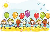 happy summer holiday at beach kids with balloons cartoon illustration