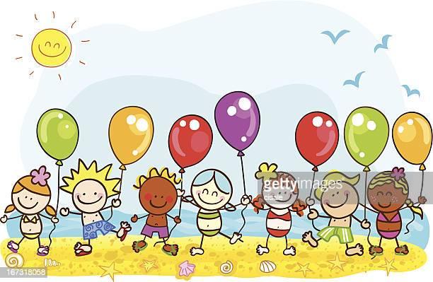 happy summer holiday at beach kids with balloons cartoon illustration
